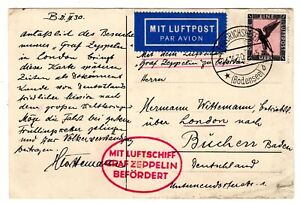 1930 Zeppelin Flight Sieger 55 on Zeppelin Card w/ Clipping England Flight
