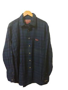 Marlboro Classics Mens Long Sleeve Button Front Shirt Blue Plaid Pocket Size XL