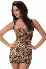 Escante Wild Imagination Leopard Animal Print Mini Dress w/ Cutout Back, One Siz