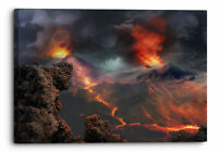 Volcanoes Eruption Orange Nature Canvas Wall Art Picture Home Decoration