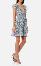 NWT Foxiedox Ladies Small UK 8/10 Pale Blue Floral Fit & Flare Dress RE631DR