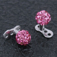 Steel Round Crystal Ball Anchor Internally Threaded Microdermals Piercing