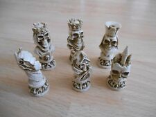 Undead Skulls Small Gothic Fantasy Resin Chess Set in Mahogany & Ivory effect