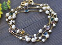 """Z10027 64"""" 12mm White Round & Rice Pearl Multicolor Gemstone Necklace"""