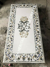 6'x3' White Marble Large Dining Top Table Pauashell Gemstone Inlay