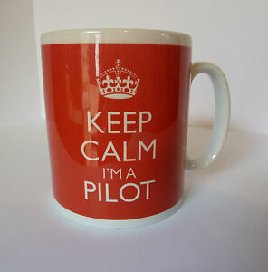 New Keep Calm I'm A Pilot Carry On Gift Mug Cup Airplane Airport Flying RAF