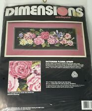 Dimensions Needlepoint Kit Victorian Floral Spray 2387 Framed Vintage Nip Sealed