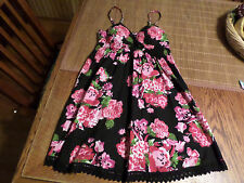No Boundaries Black/Pink Floral KL Summer Empire Dress Junior M 7-9