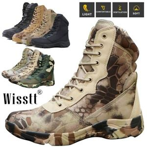 Mens Jungle Travel Tactical Army Military Combat Mid-Ankle Hiking Trekking Boots