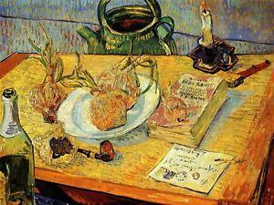 Vincent Van Gogh Still Life Drawing Board Pipe Onions Wax Canvas Art Print