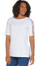 NWT QUACKER FACTORY LACE SLEEVE KNIT T-SHIRT W/FAUX PEARL DETAIL, WHITE, SMALL