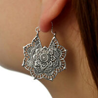 Antique silver Gypsy Indian Tribal Ethnic Hoop Dangle Mandala Earrings Boho New