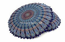 Peacock Mandala Round Floor Pillow Traditional Indian Pom Lace Cushion Pouf 2 PC