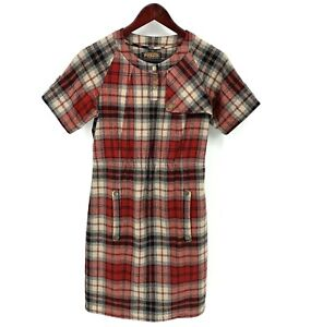 Pendleton Portland Collection Plaid Virgin Wool Dress sz Small Red Pockets