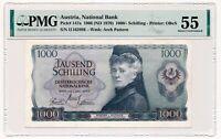 AUSTRIA banknote 1000 Schilling 1966 PMG AU 55 About Uncirculated