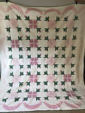 Antique Vintage Rose of Sharon Hand Stitched Quilt - Pink White Green
