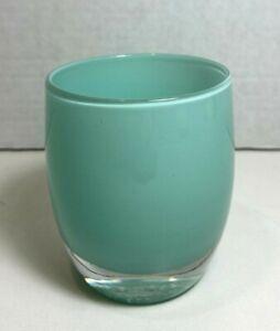 "RARE Glassybaby Pre Triskelion Stamp Votive ""Begin Again"" Opaque Blue Green"