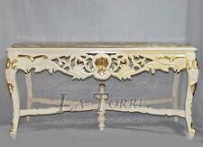Tavolo  da pranzo legno intagliato rettangolare avorio marmo stile Barocco cm170