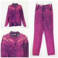 VTG Opal Womans Denim Outfit Sz 6 Pink Acid Wash Jacket Pants High Waist 80s