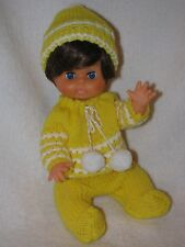 """10"""" Vintage Plastic Baby Doll Made In Hong Kong Wearing Yellow Knit Outfit"""