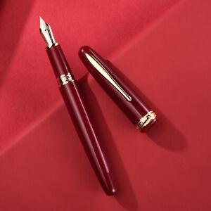 Hongdian 1841 Resin Fountain Pen Iridium EF/F 14K Gold EF/F Red/Black Gift Pen