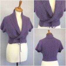 Meily Ladies Purple Angora Wrap Jacket Cardigan M UK Size 12/14