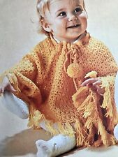 FCb67 - Crochet Pattern - Fabulous Unique  Baby's Children's, Poncho / Shawl