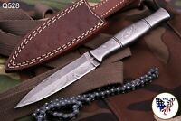 HAND FORGED DAMASCUS STEEL KNIFE W/DAMASCUS STEEL HANDLE -df