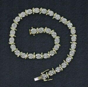 9ct Yellow Gold 0.25ct Diamond Tennis Bracelet 7.5 Inches