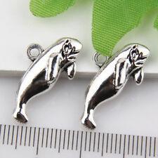 15Pcs Tibetan Silver Sea Dog Pendants Charms 24*13mm 1A1835