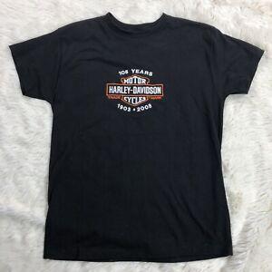 Harley Davidson 105 Years Shirt Medium Black Embroidered Logo Short Sleeve