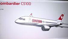 1:100 35CM SWISS Bombardier CS100 Passenger Airplane ABS Plastic Aircraft Model