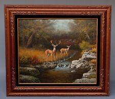 Vintage Signed J. Perrine Oil Painting on Canvas Deer by Woodland Stream