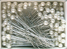 "2.5"" WHITE ROUND Pearl Head Pins Corsage or Crafts"