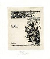 Don Quixote, Asociacion Andaluza de Exlibristas 's Ex libris Etching by A Eizans
