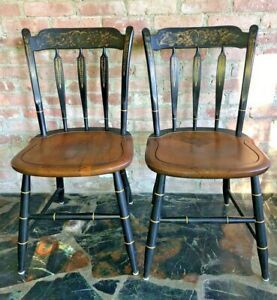 L.Hitchcock~2 MAPLE SIGNED 1960s STENCILED ARROW BACK, SADDLE SEAT SIDE CHAIRS-1