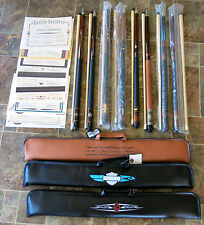 Harley-Davidson McDermott set of 8 Limited-Ed. Pool Cues, all numbered 040/100