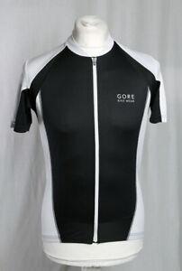 Gore Bike Wear Cycling Jersey Shirt Full Zip Pockets Black White Running L VGC!