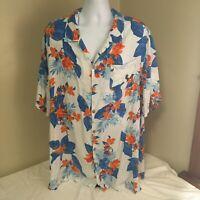 KS Island Mens Hawaiian Shirt Aloha Short Sleeve Multicolor Floral 3XL XXXL FS
