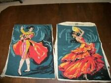 French Needlepoint Spanish Dancers Completed Pillow Top Picture Chic Shabby Vtg