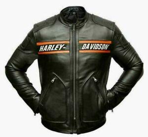 Harley Distressed Black Motorcycle Men's Vintage Cowhide HD Leather Jacket
