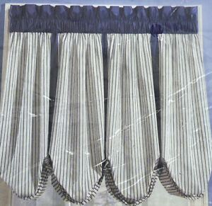 Curtain 84in x 63in Green Solid Top Vertical Striped Adjustable Balloon Style