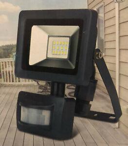 Unitec LED Fluter mit Bewegungsmelder 10 Watt IP44 Scheinwerfer Weiß und Schwarz