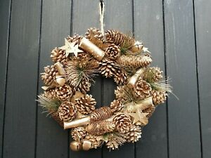 """12"""" /30cm Dried Natural Wreath - Gold Pine cones & Bells"""