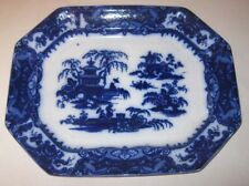 Antique 1850 Large Flow Blue Meat Platter Ting Hae by E. Challinor Co. England
