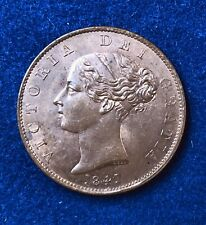 Great Britain 1841/1 1/2 PENNY UNC Copper  Victoria Red Brown beauty KM 726