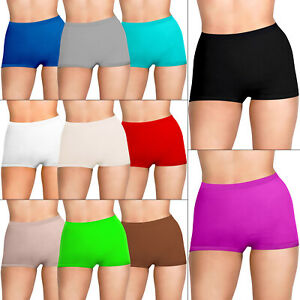 Womens Ladies Plain Underwear High Waist Seamless Stretch Boxer Shorts Lot