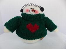 SNOWMAN GREEN SWEATER WITH RED HEART, EAR MUFFS, CARROT NOST