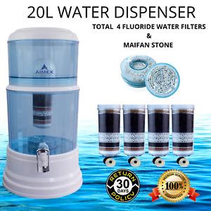 20L Water Dispenser Bench-top Jug Maifan Stone 4 Fluoride Removal Water Filters