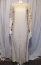 Vintage 60s 70s Linen? w/ Lace Wedding Dress w/ Detachable Train
